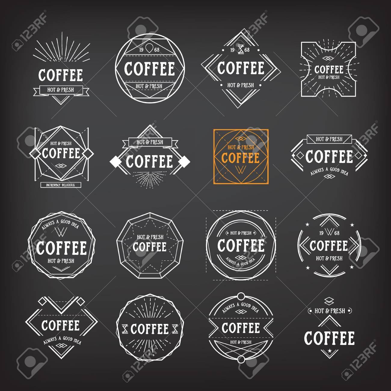 Coffee Menu Template Vintage Geometric Badge Royalty Free Cliparts