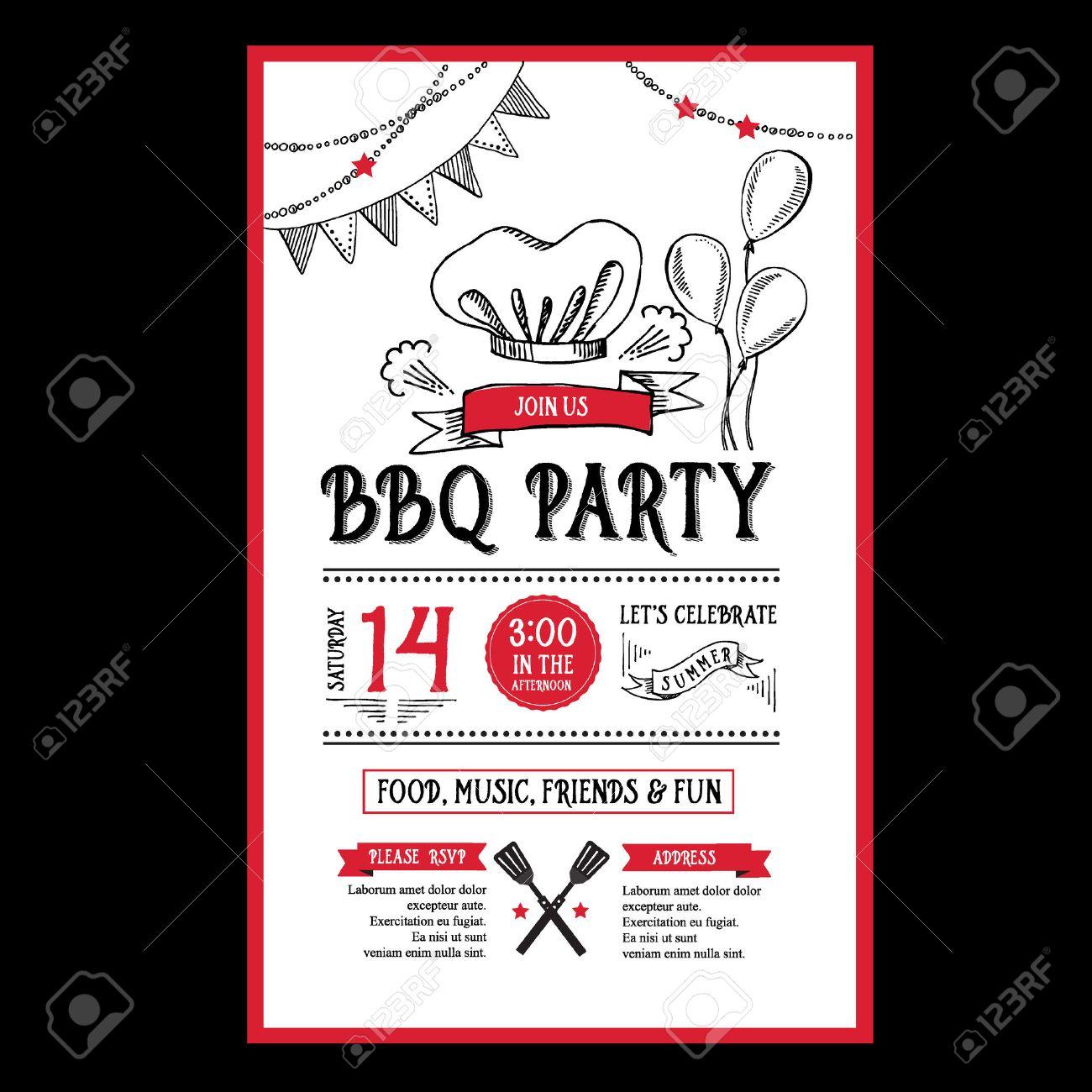 Barbecue Party Einladung. BBQ Vorlage Menü Design. Essen Flyer. Lizenzfreie  Bilder