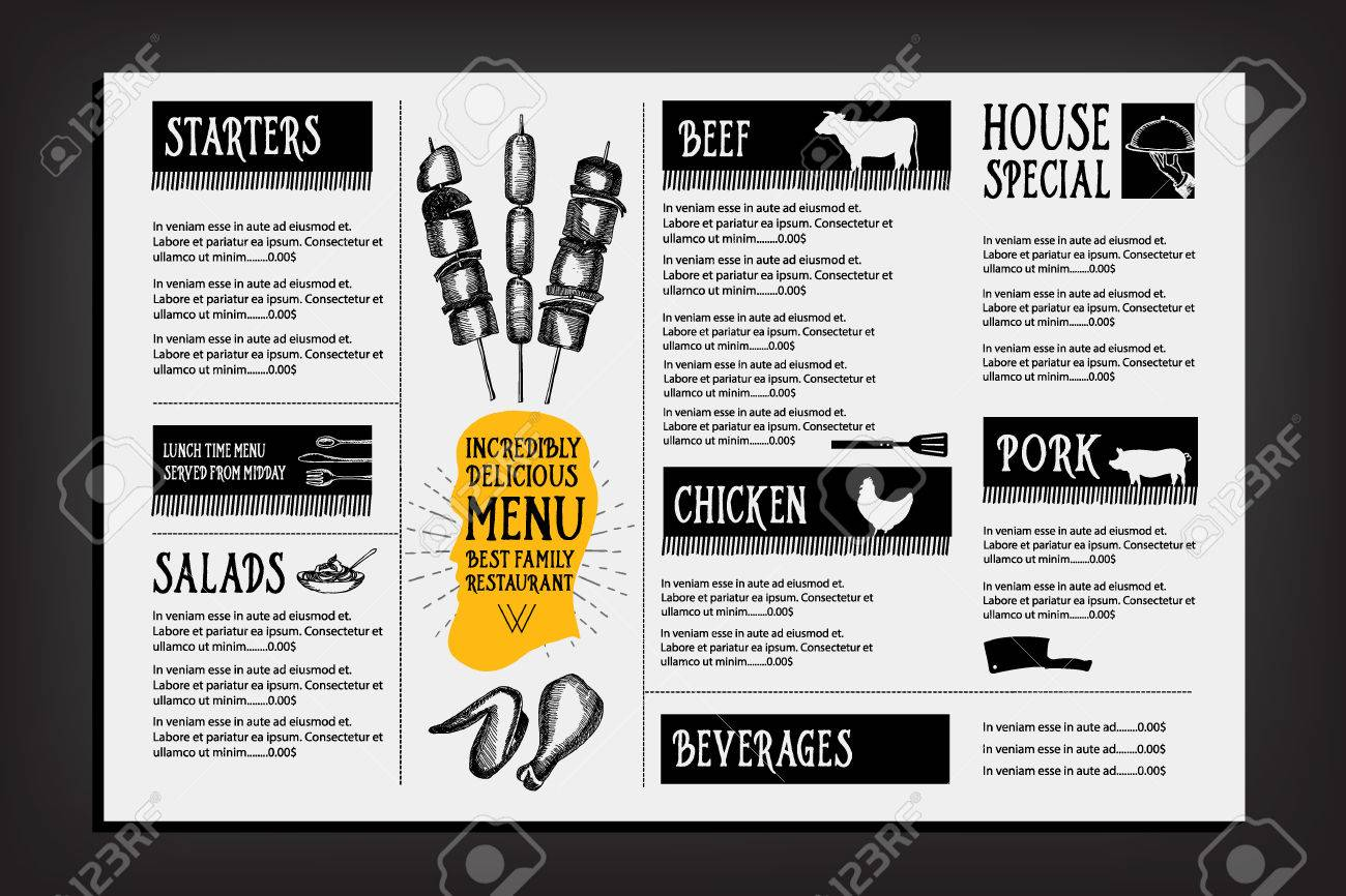 Cafe Menu Restaurant Brochure Food Design Template Royalty Free – Restarunt Brochure