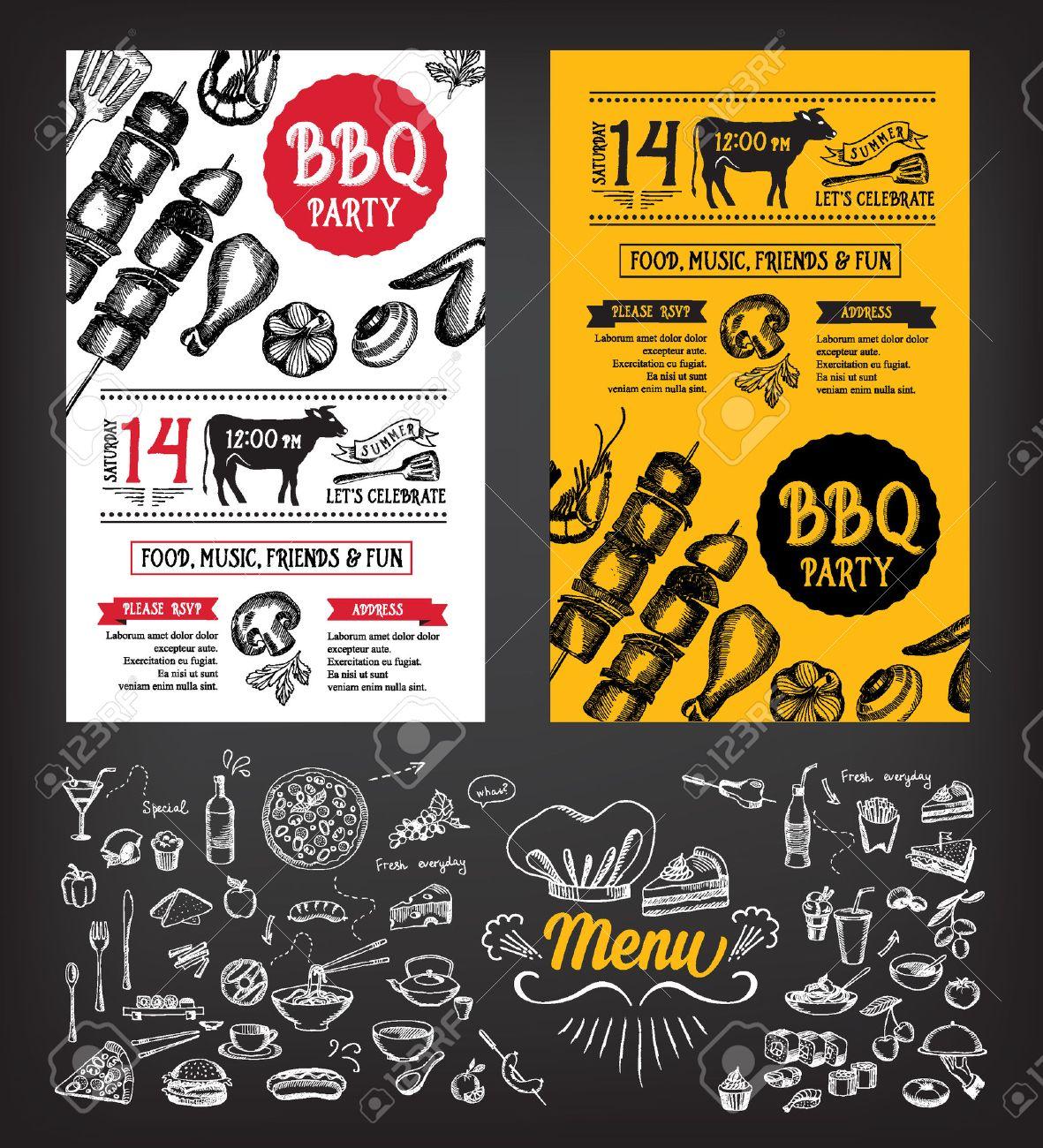 Barbecue Party Invitation. BBQ Template Menu Design. Food Flyer ...