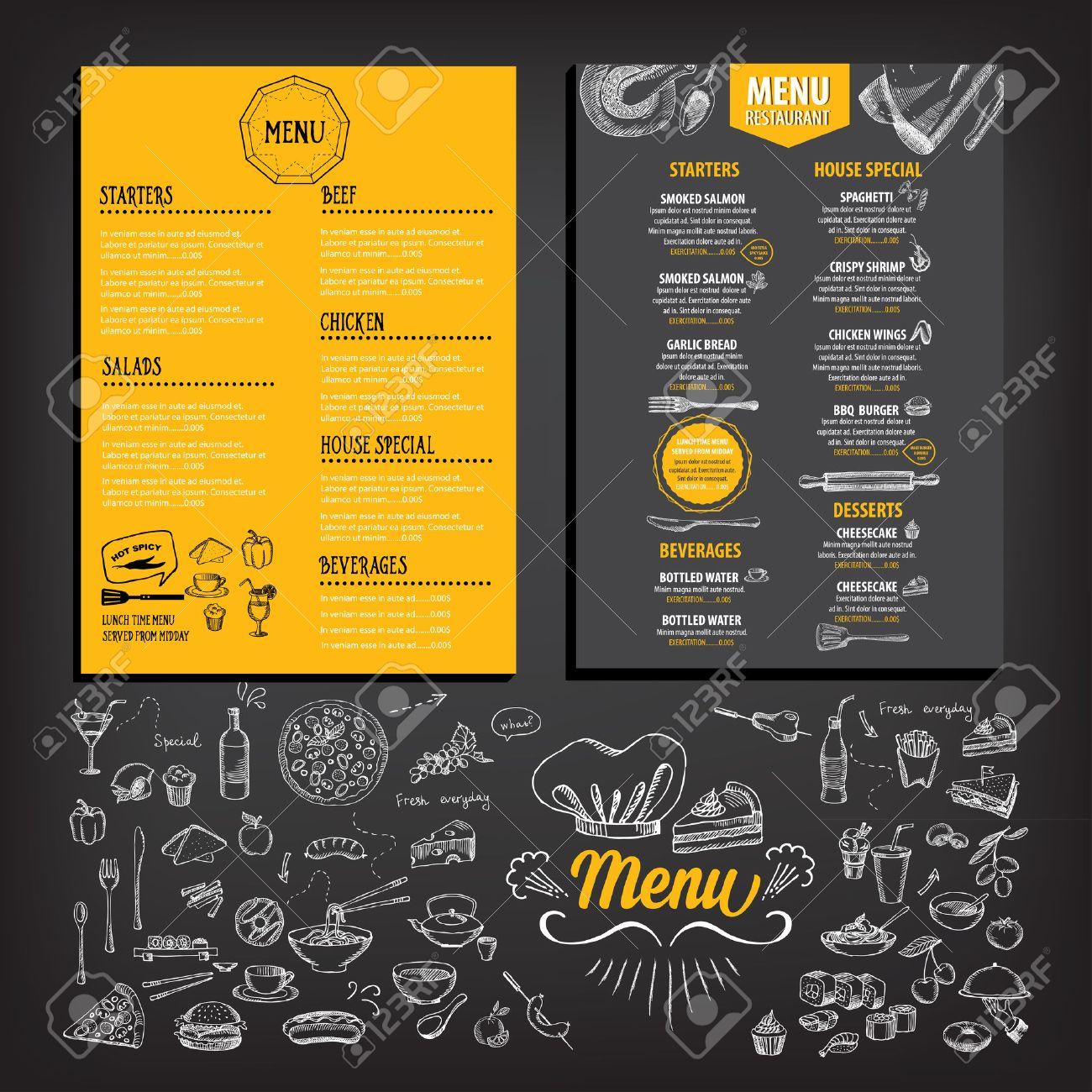 Restaurant Cafe Menu Template Design Food Flyer Royalty Free – Free Cafe Menu Templates for Word