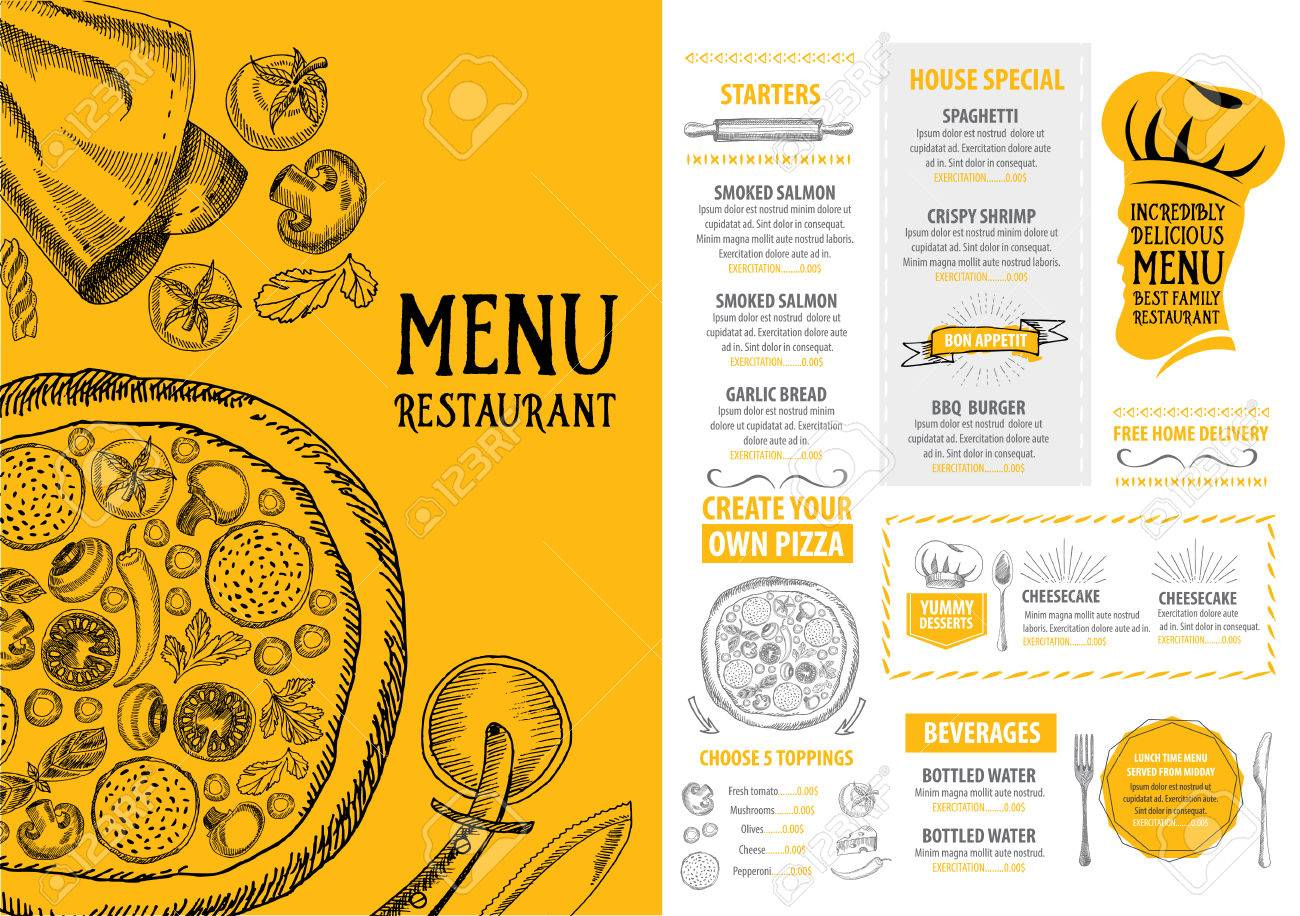 cafe menu restaurant brochure food design template royalty free