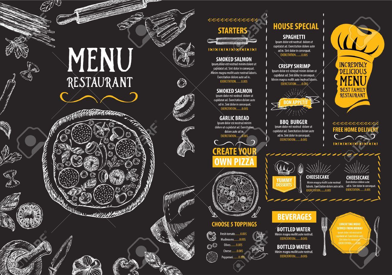 Restaurant Cafe Menu Template Design Food Flyer Royalty Free – Lunch Menu Template