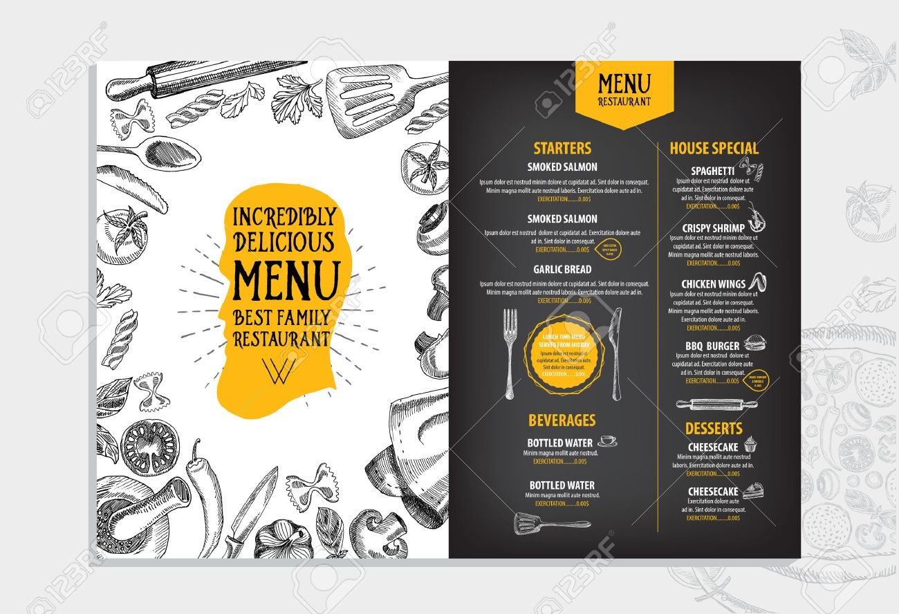 restaurant cafe menu, template design. food flyer. royalty free