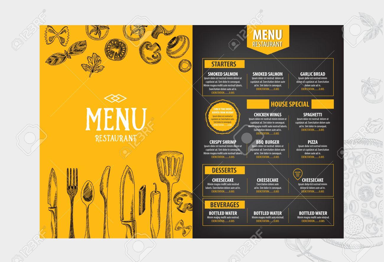Cafe Menu Restaurant Brochure. Food Design Template. Royalty Free ...