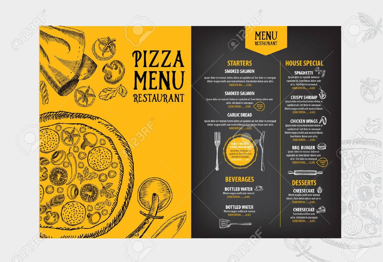Menú De Cafetería Restaurante, Diseño De La Plantilla. Folleto De ...