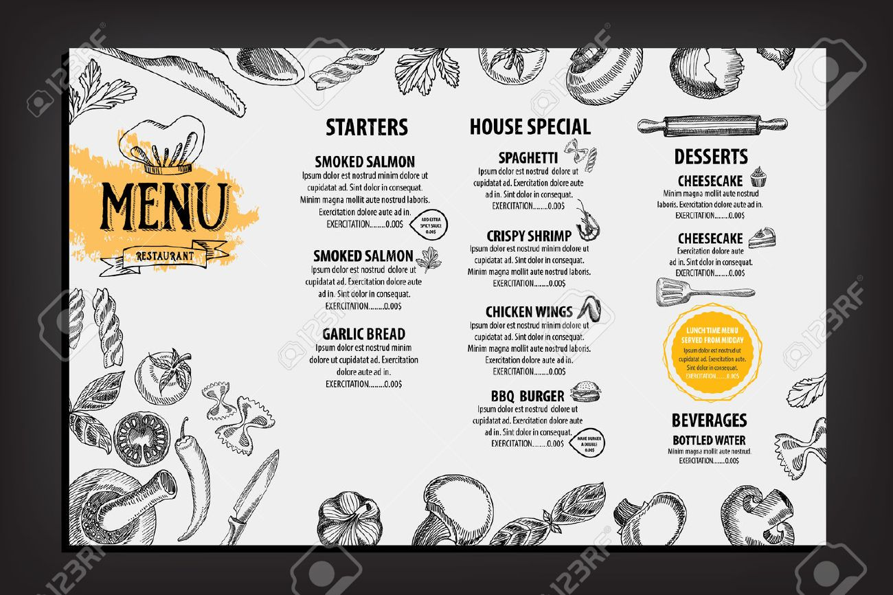 Restaurant cafe menu, template design. Food flyer. - 43453325