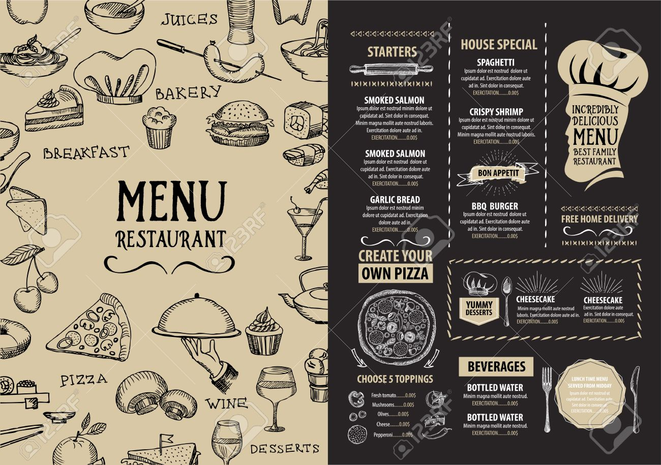 Restaurant Cafe Menu, Template Design. Food Flyer. Stock Vector   43956988  Breakfast Menu Template