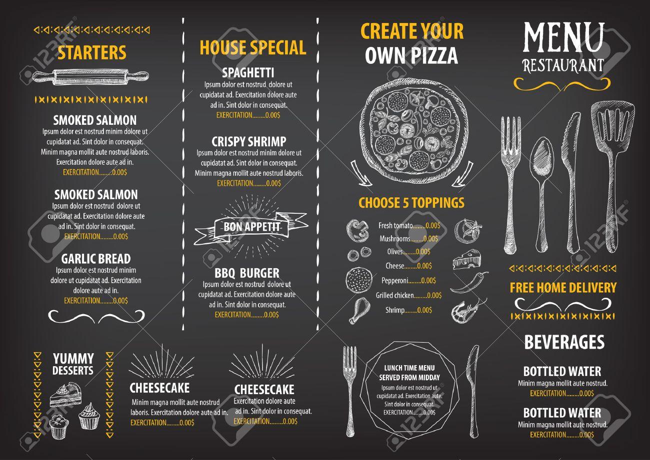 レストラン カフェ メニュー デザイン テンプレートです 食品チラシ