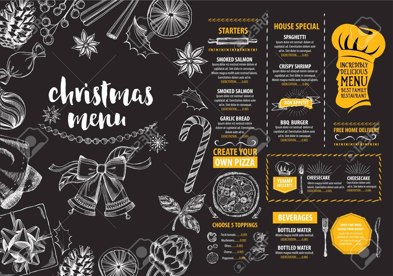 Christmas party invitation restaurant menu design vector template christmas party invitation restaurant menu design vector template with graphic stock vector stopboris Image collections