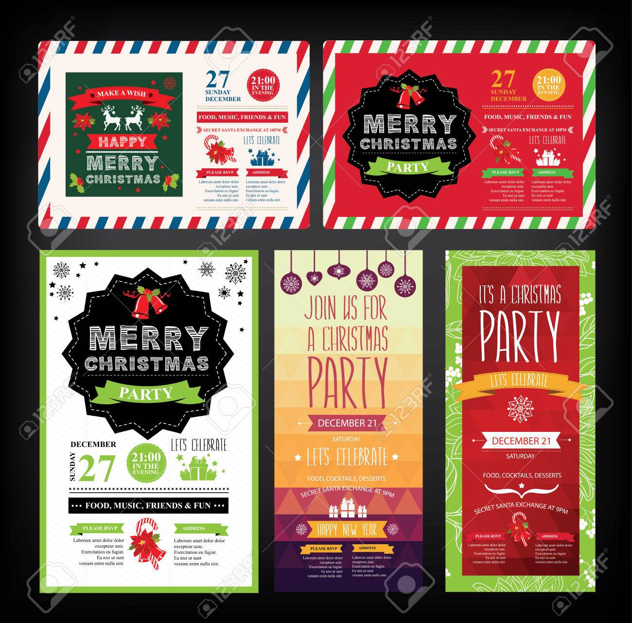 christmas party invitation holiday card vector template christmas party invitation holiday card vector template graphic stock vector 46040019
