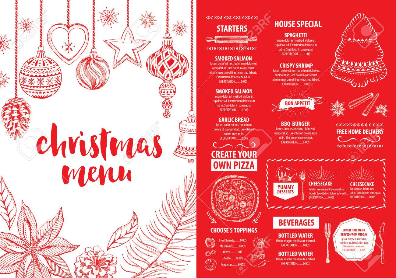 christmas party invitation restaurant menu design vector template