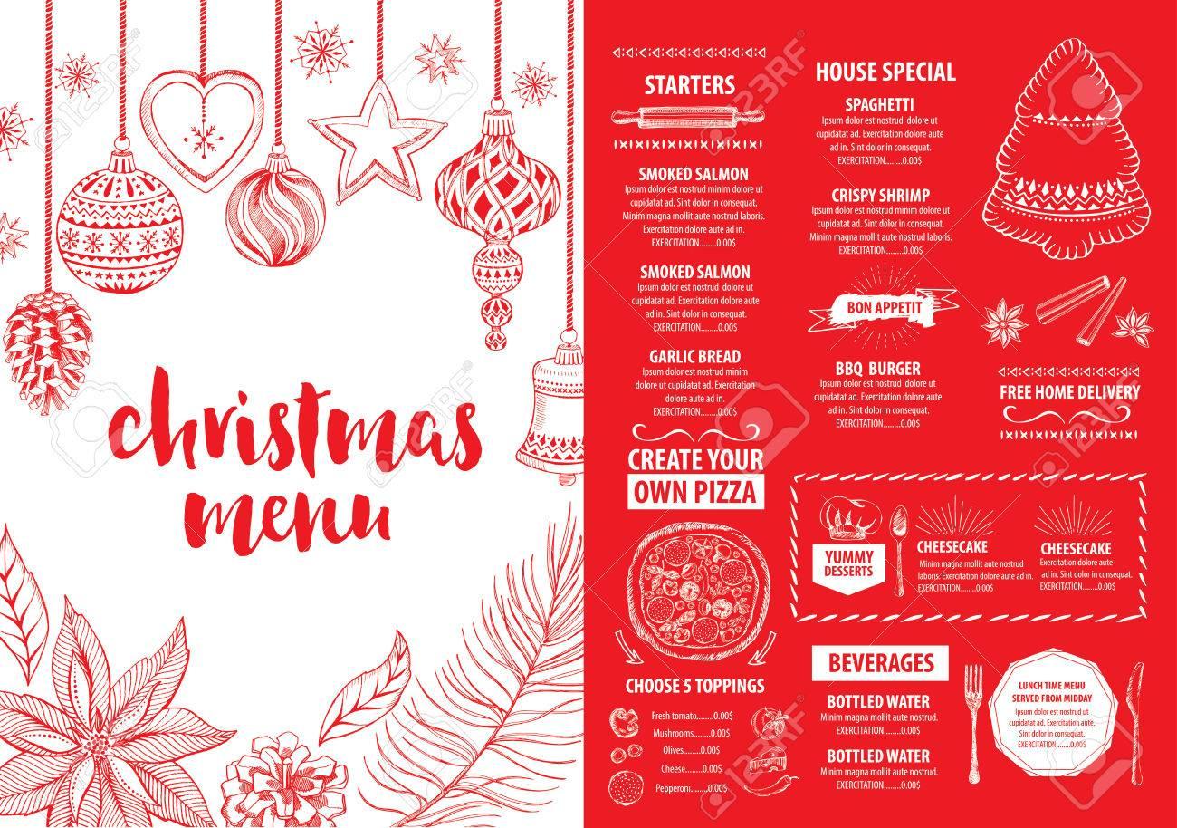 christmas party invitation restaurant menu design vector template