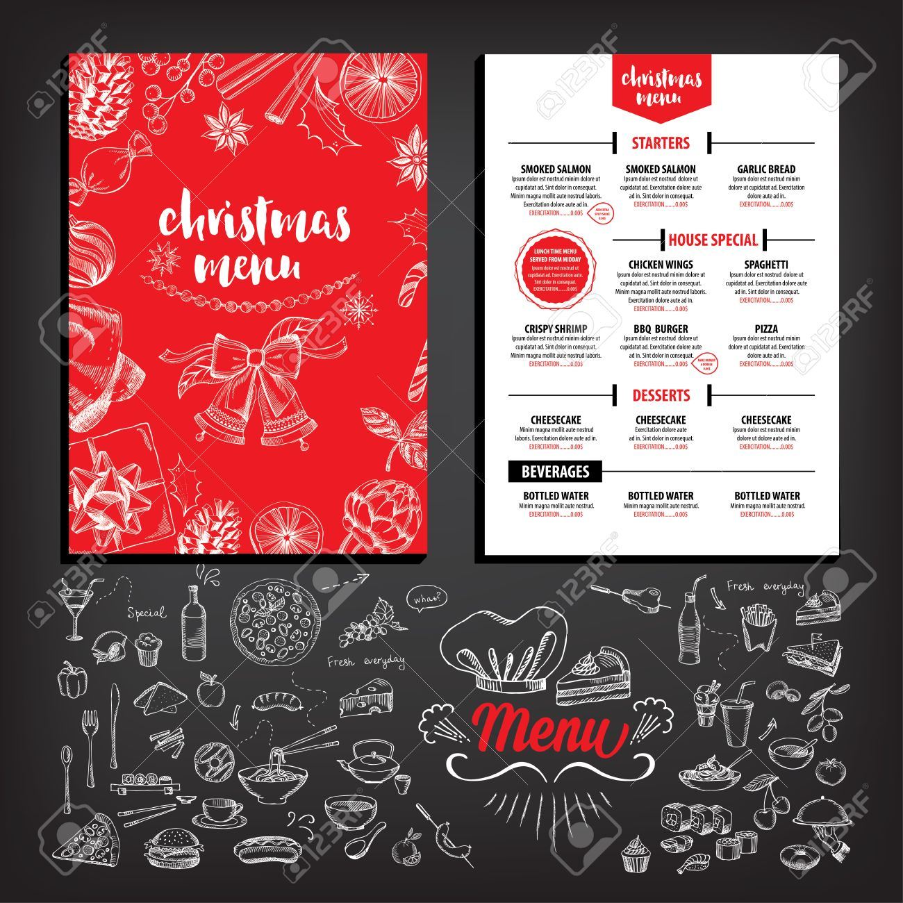2697 Christmas Dinner Party Vector Illustration And Royalty – Free Christmas Dinner Menu Template