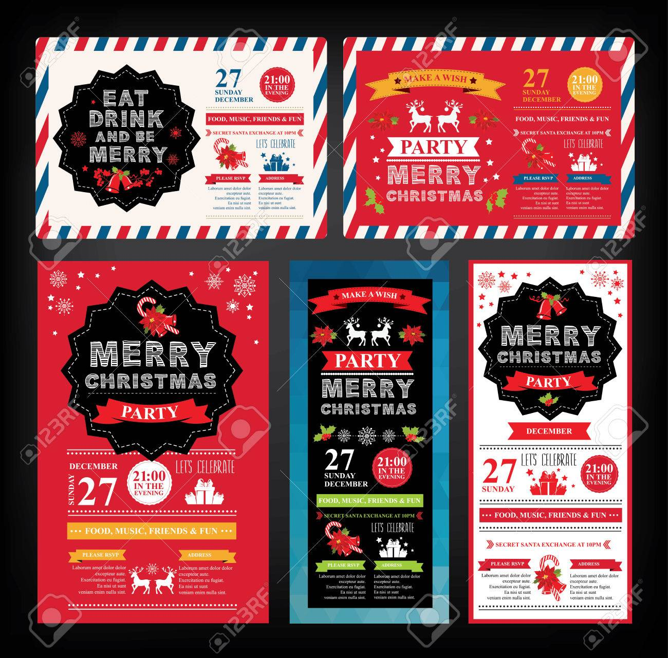christmas party invitation holiday card vector template christmas party invitation holiday card vector template graphic stock vector 46040309