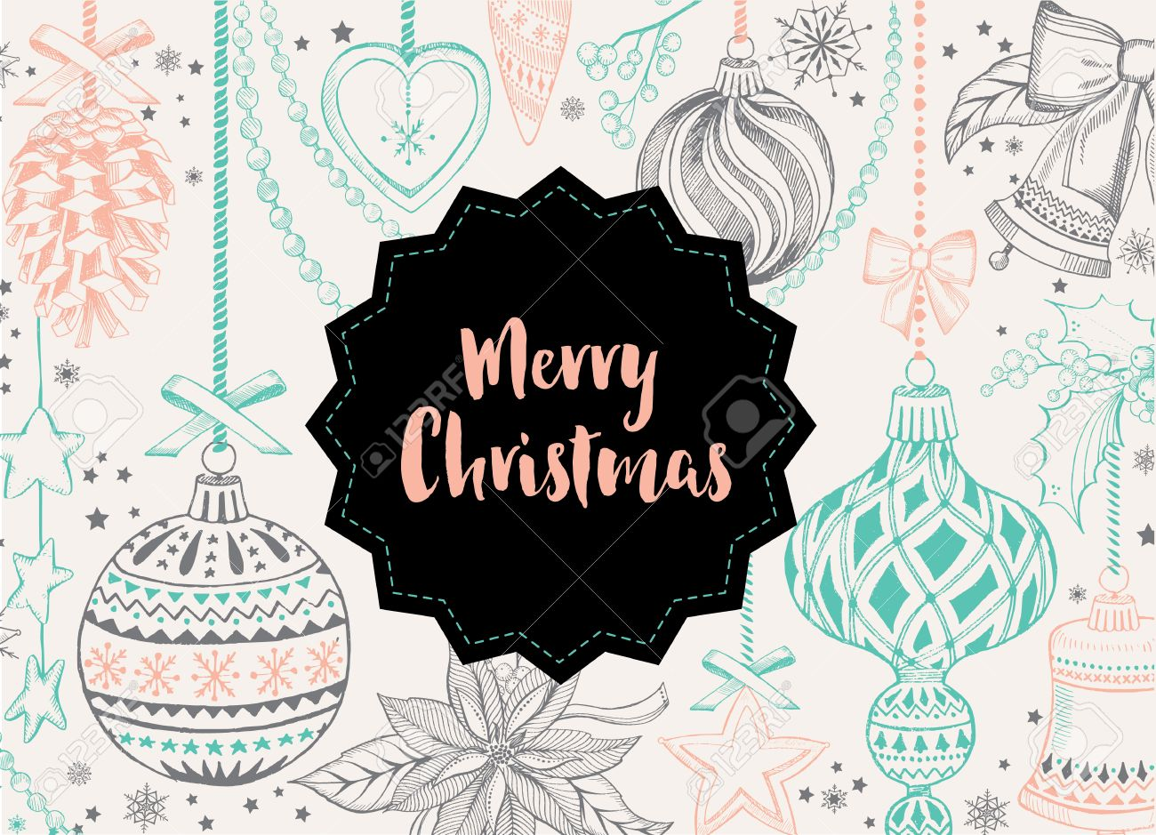 Poster design vector graphics - Vector Merry Christmas Poster Design Vector Holiday Template With Xmas Hand Drawn Graphic