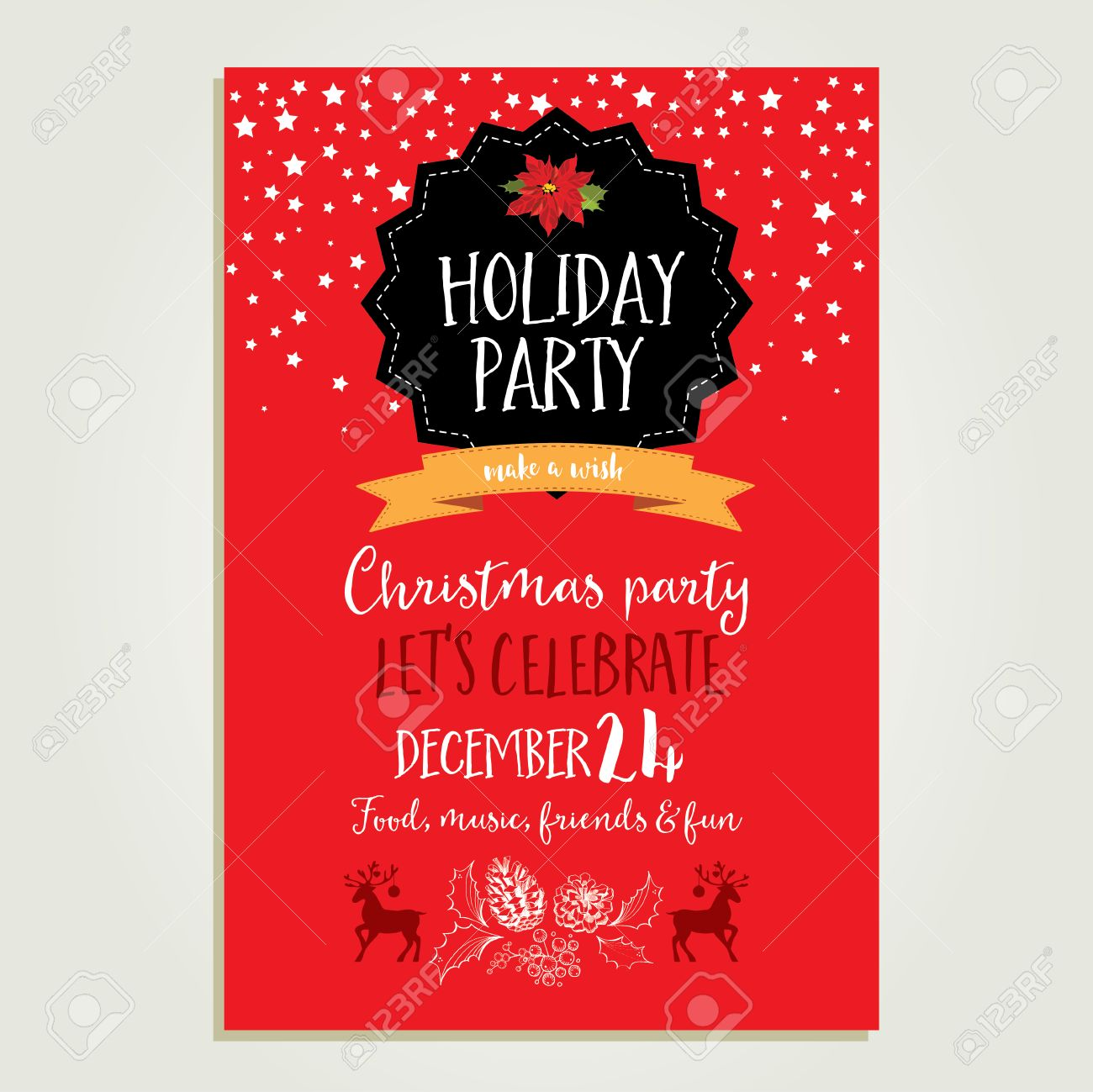 Vector Christmas Party Invitation With Toys. Holiday Background ...