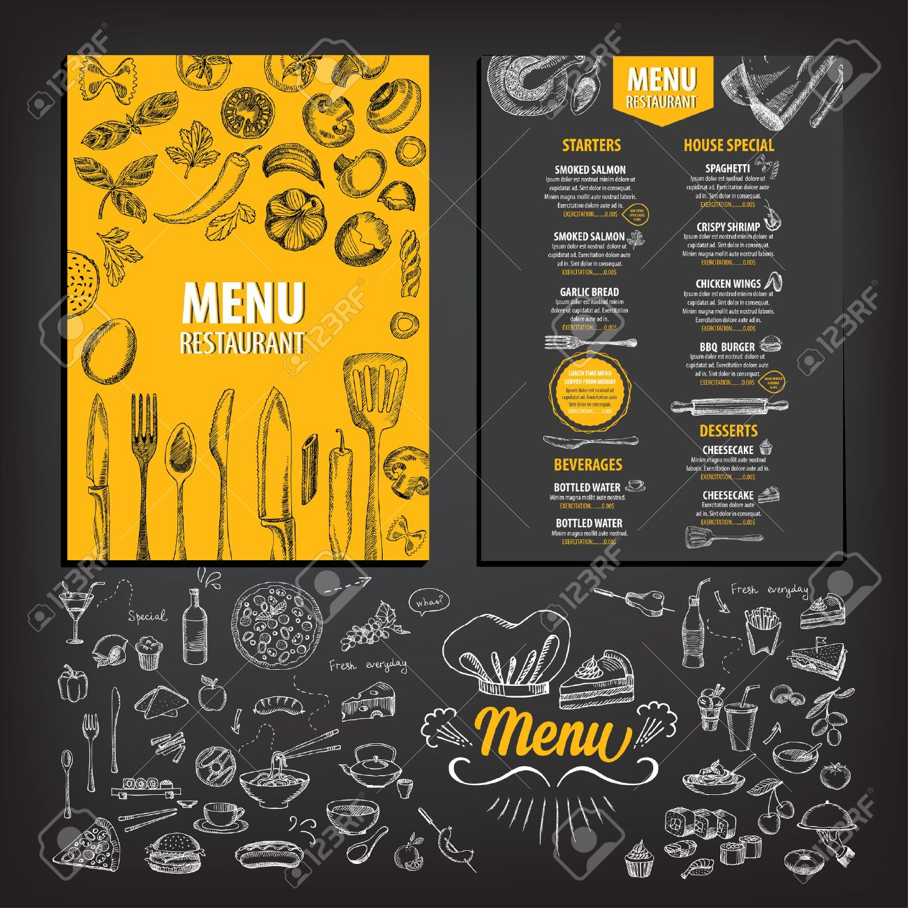 For restaurant pictures graphics illustrations clipart photos - Vector Restaurant Brochure Menu Design Vector Cafe Template With Hand Drawn Graphic