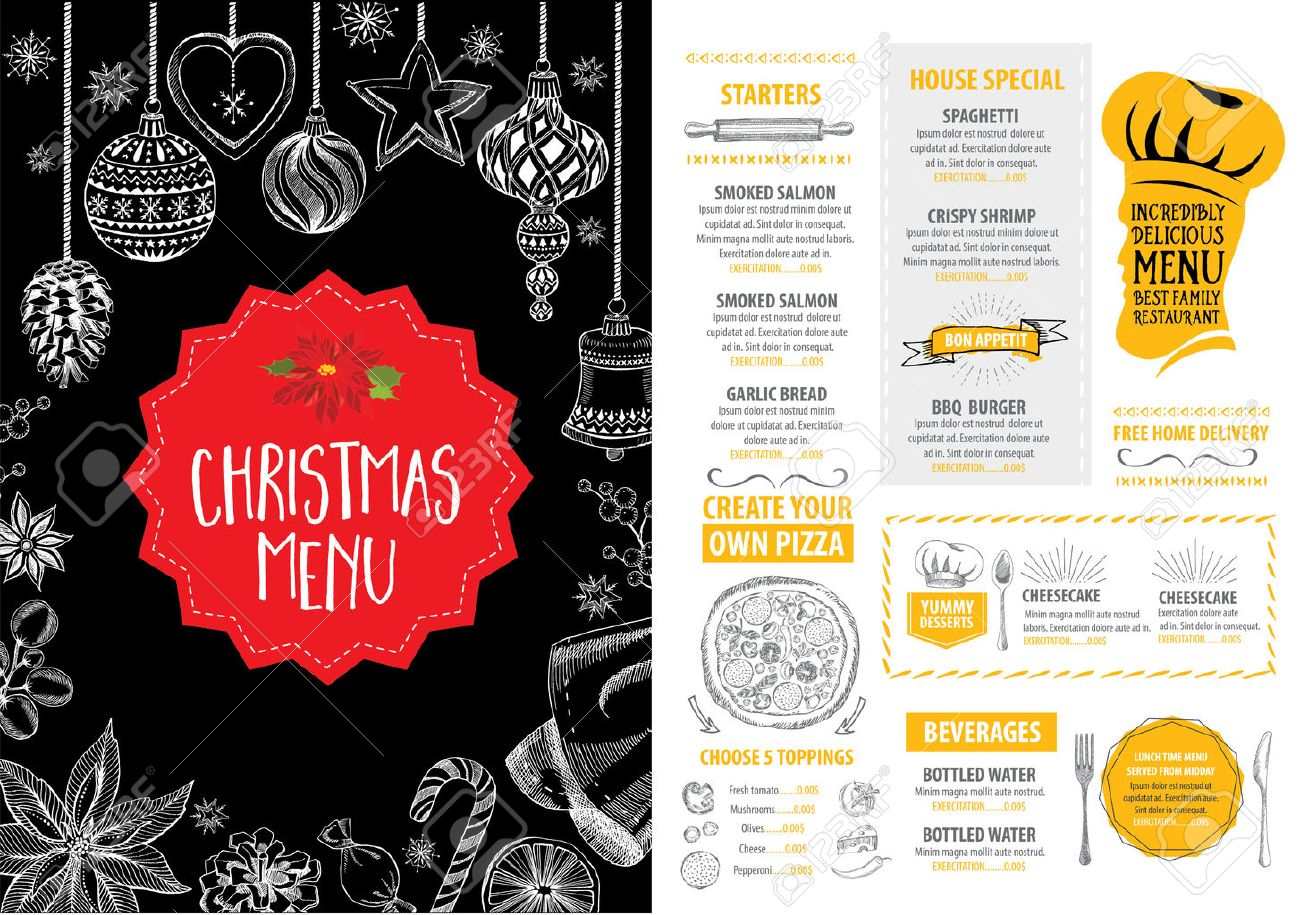 For restaurant pictures graphics illustrations clipart photos - Vector Christmas Restaurant Brochure Menu Design Vector Holiday Template With Xmas Hand Drawn