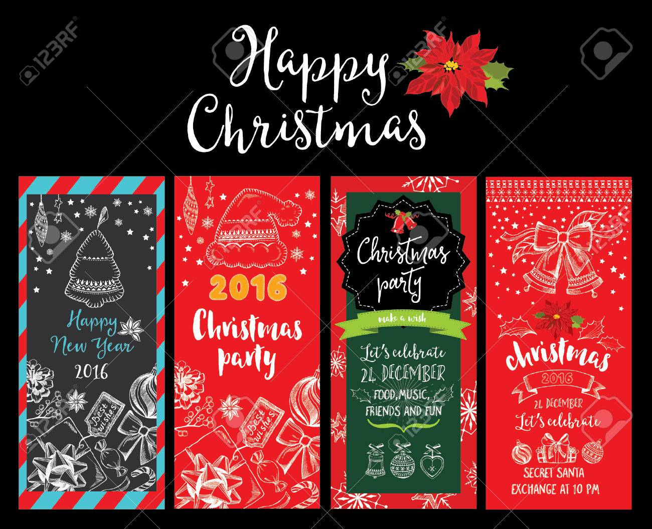 Vector christmas party invitation with toys holiday background vector vector christmas party invitation with toys holiday background and design banner vector template with hand drawn xmas graphic stopboris Images