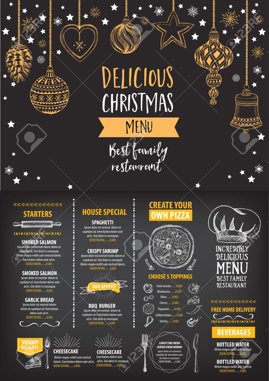Vector Christmas Restaurant Brochure, Menu Design. Vector Holiday ...