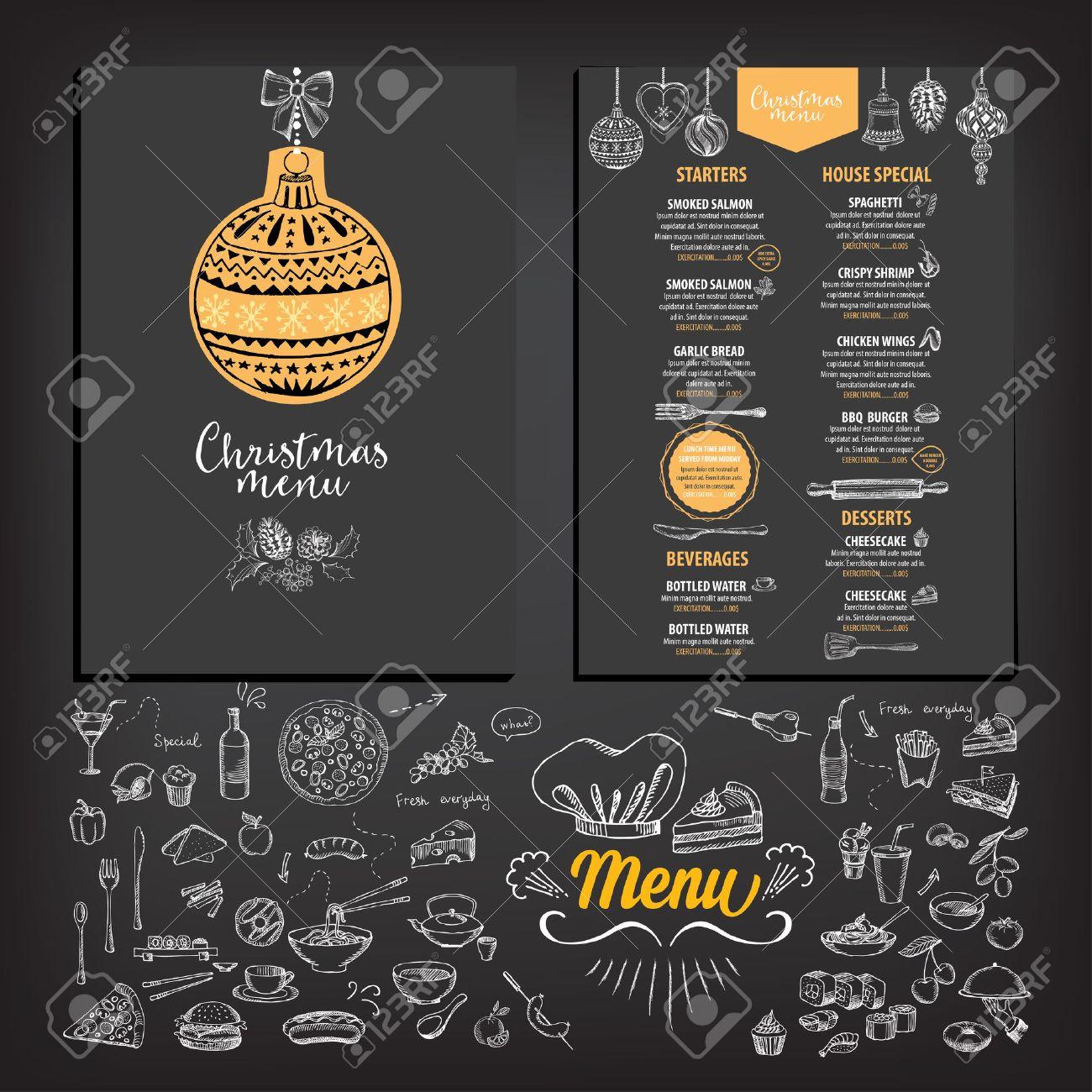 vector christmas restaurant brochure menu design vector holiday vector vector christmas restaurant brochure menu design vector holiday template xmas hand drawn graphic happy new year invitation flyer