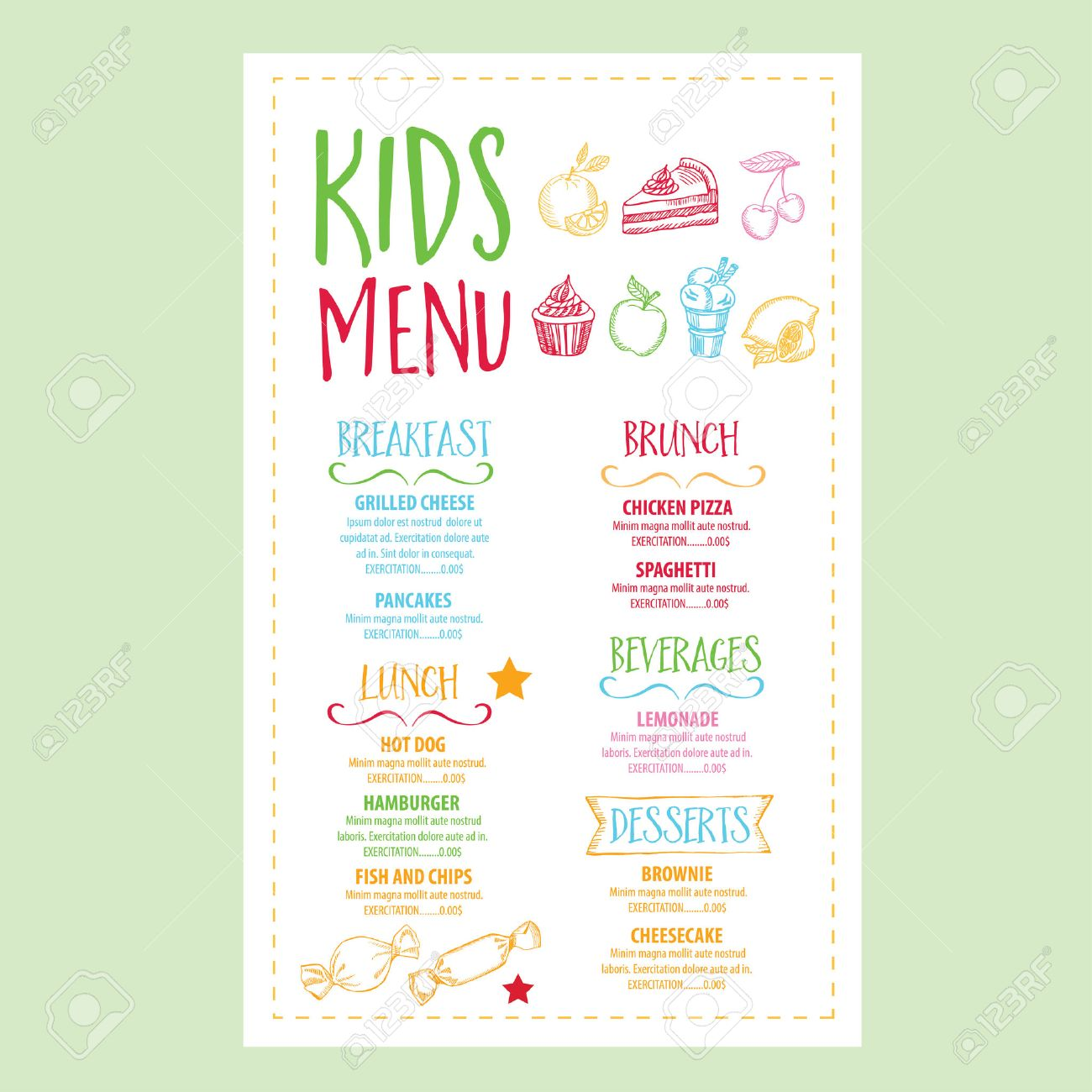 Vector Restaurant Brochure, Kids Menu Design. Vector Cafe Template With  Hand Drawn Graphic  Free Kids Menu Templates
