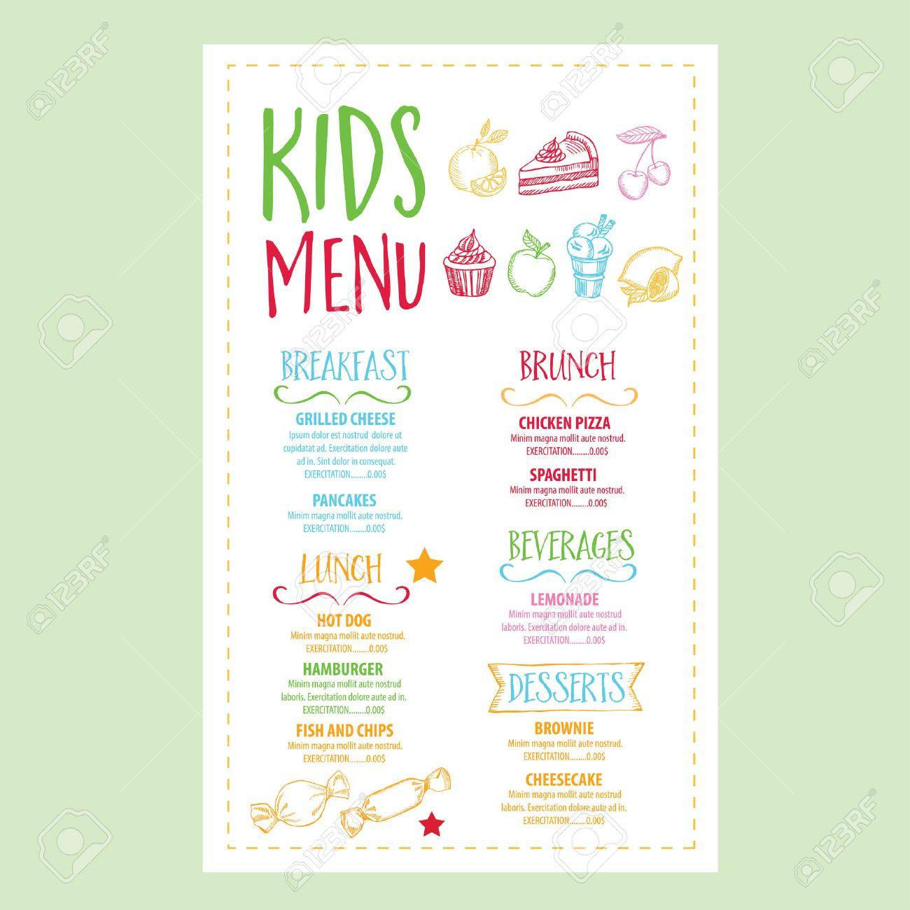 Vector Restaurant Broschüre, Kinder-Menü-Design. Vector Café-Vorlage ...