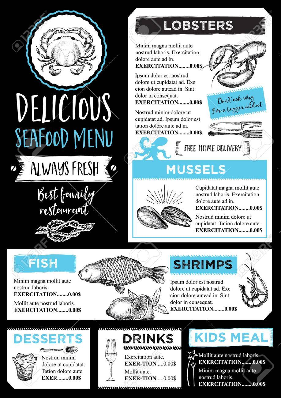 Seafood Restaurant Brochure Menu Design Royalty Free Cliparts Vectors And Stock Illustration Image 52132367