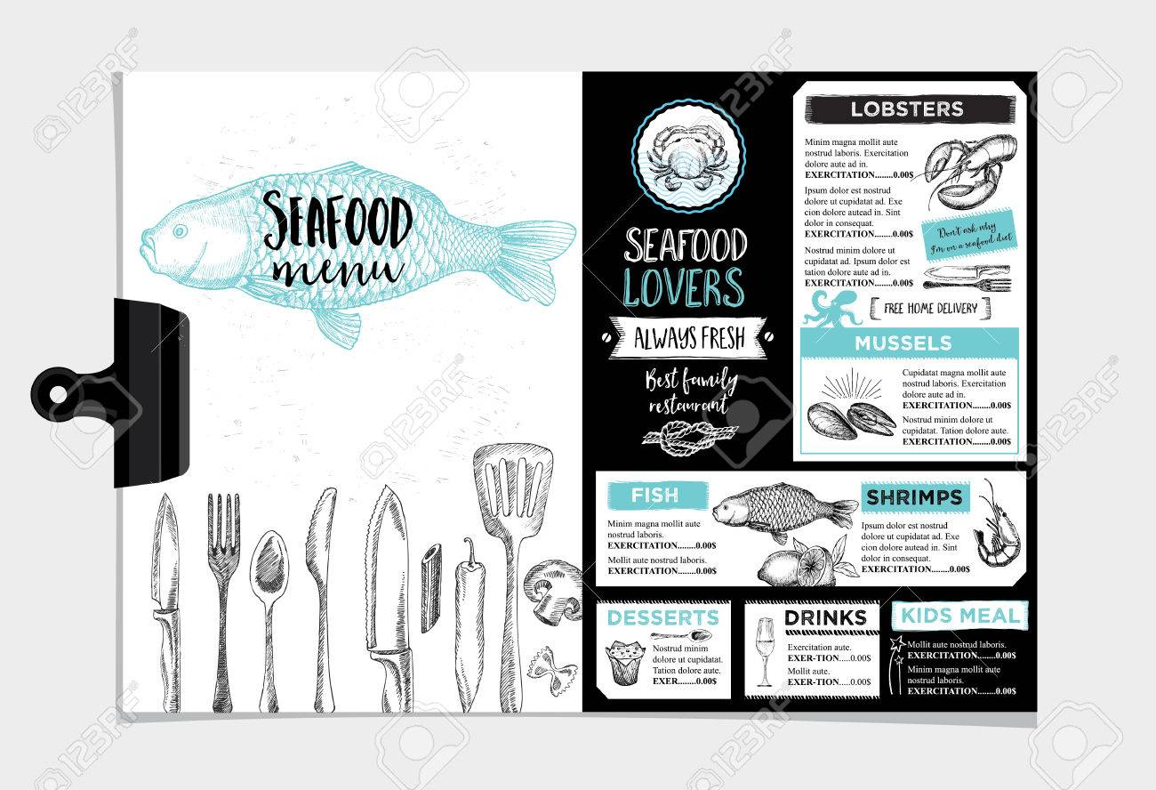 Seafood Restaurant Brochure Menu Design Royalty Free Cliparts Vectors And Stock Illustration Image 52132577
