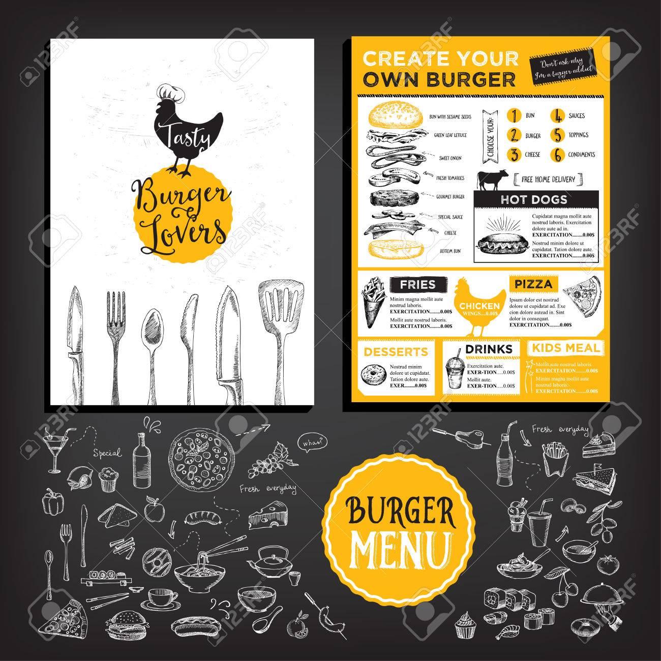 Food menu, restaurant template design. - 53218907
