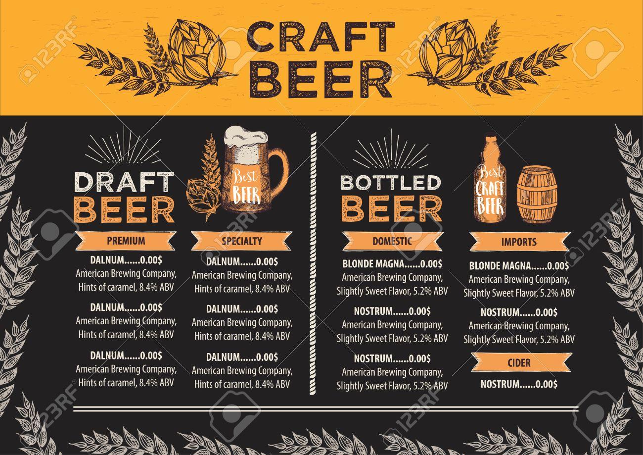 Beer Restaurant Brochure Vector Alcohol Menu Design Vector