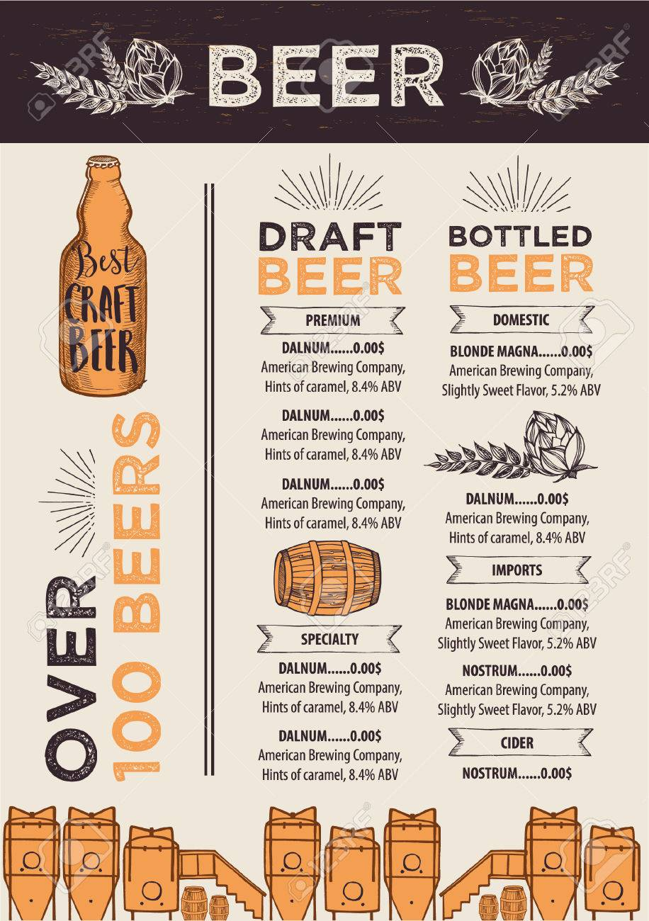 Bier-Restaurant Broschüre Vektor, Alkohol Menü-Design. Lizenzfrei ...