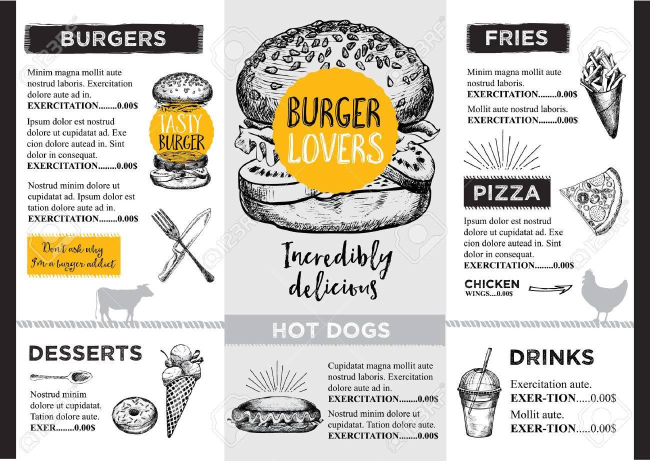 Restaurant brochure vector, menu design. - 53219767