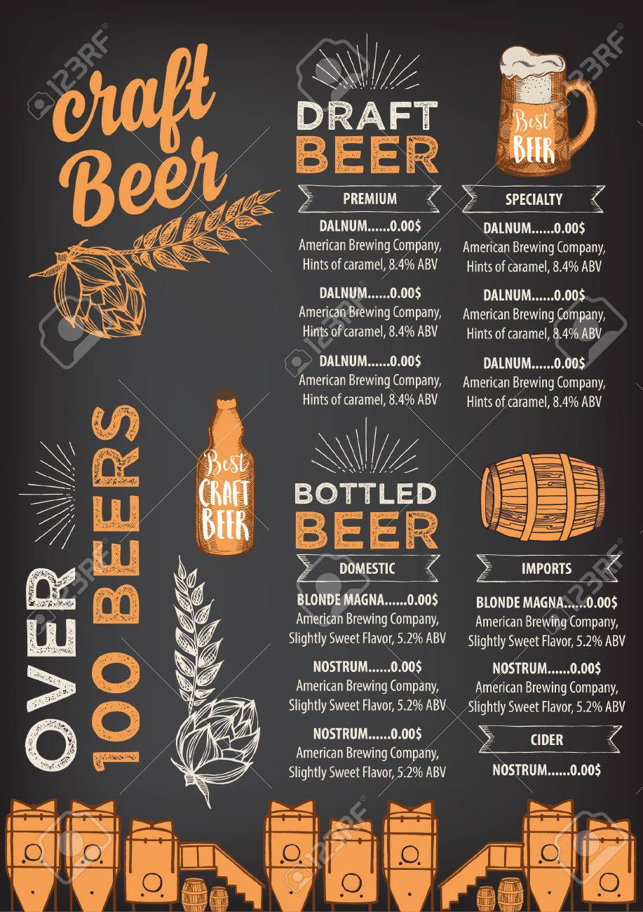 Restaurante De La Cerveza Vector De Folletos, Diseño De Menú De ...