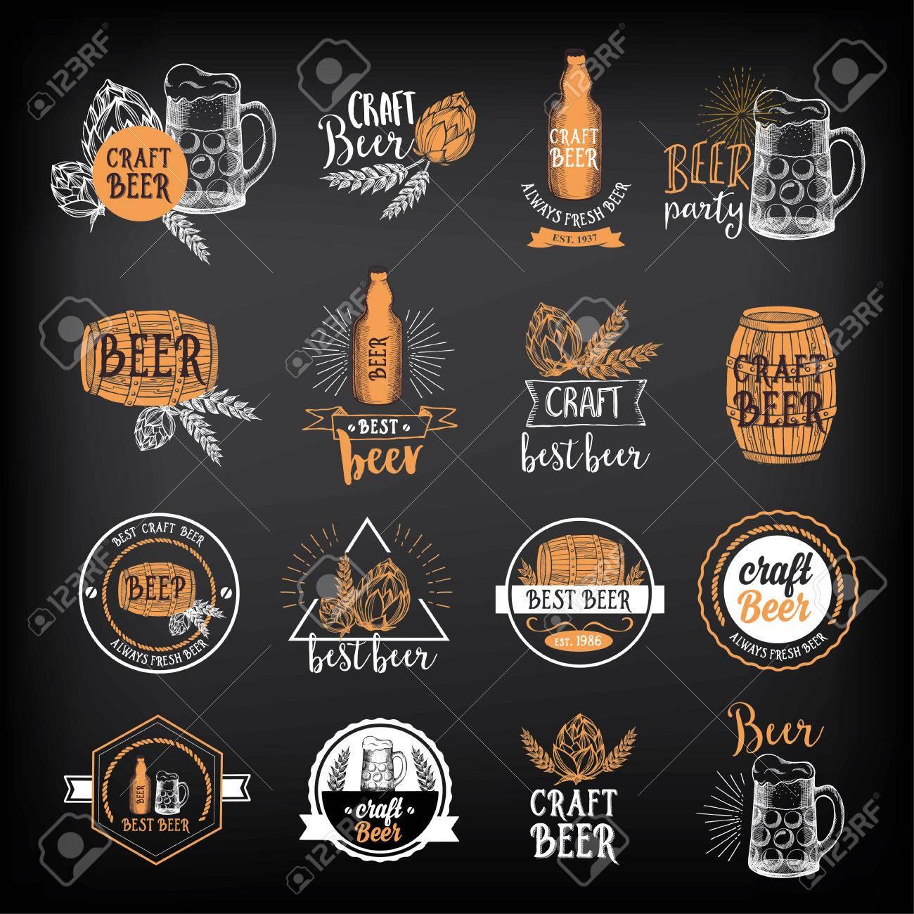 Beer restaurant badges vector, alcohol menu design. - 53222313