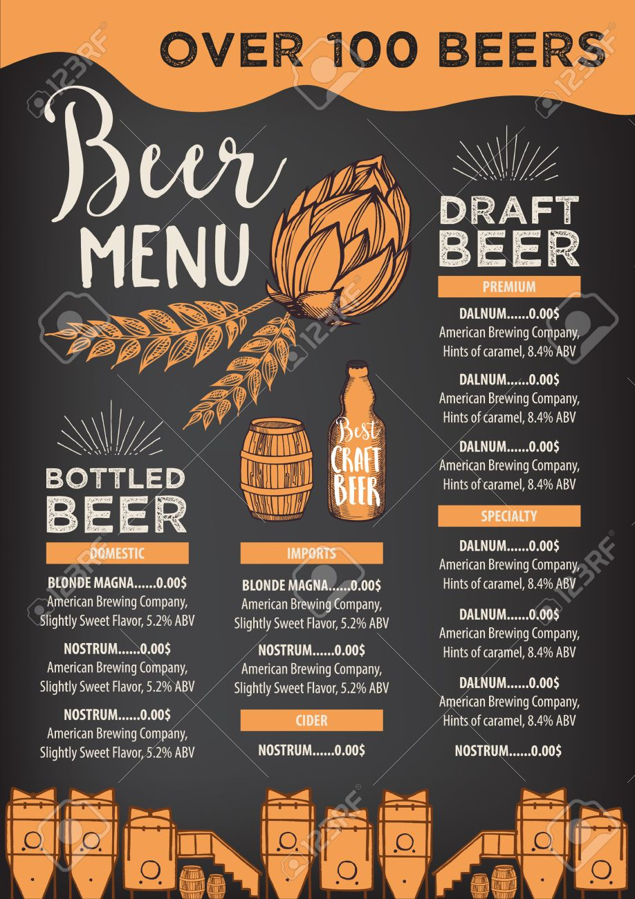 Beer Restaurant Brochure Vector, Alcohol Menu Design. Vector ...
