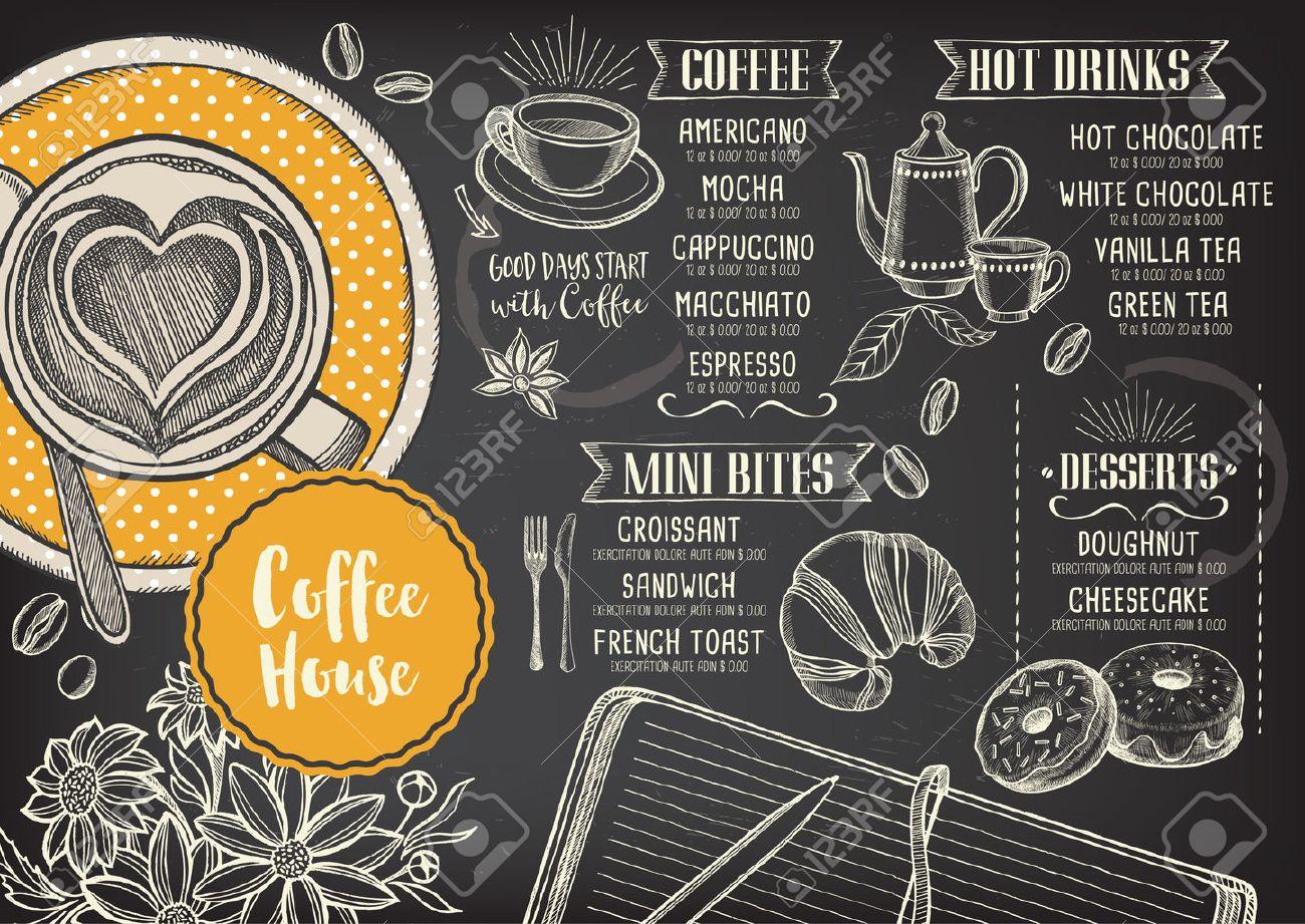 Coffee Restaurant Brochure Vector, Coffee Shop Menu Design. Royalty ...