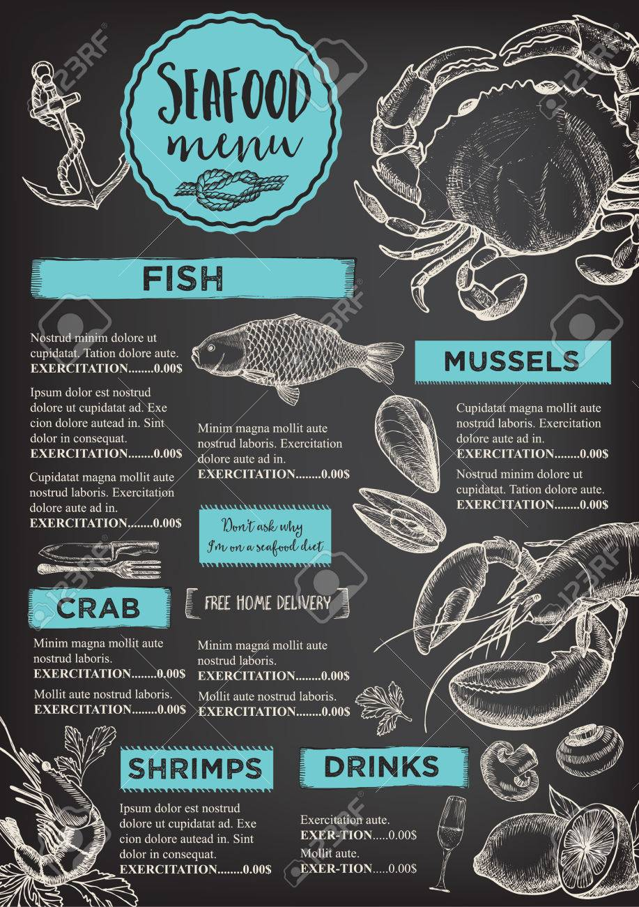 seafood restaurant brochure, menu design. royalty free cliparts