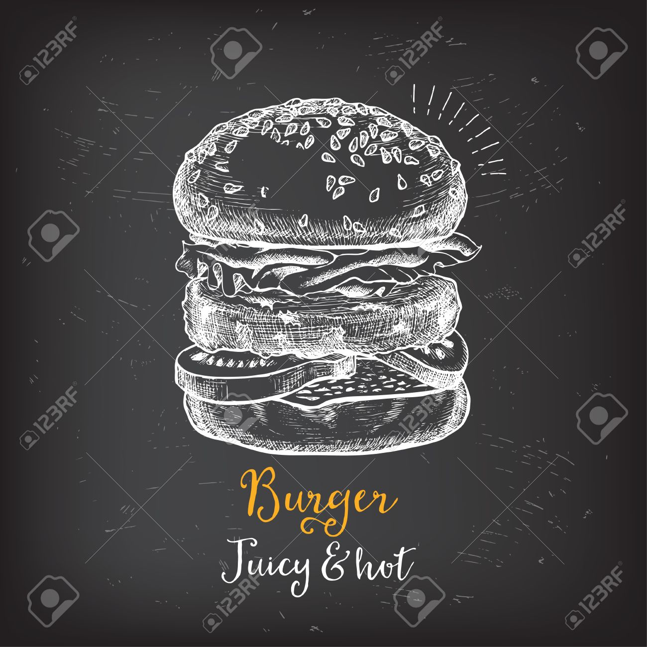 For restaurant pictures graphics illustrations clipart photos - Burger Menu Restaurant Badges Food Design Icons With Hand Drawing Elements Graphic Labels