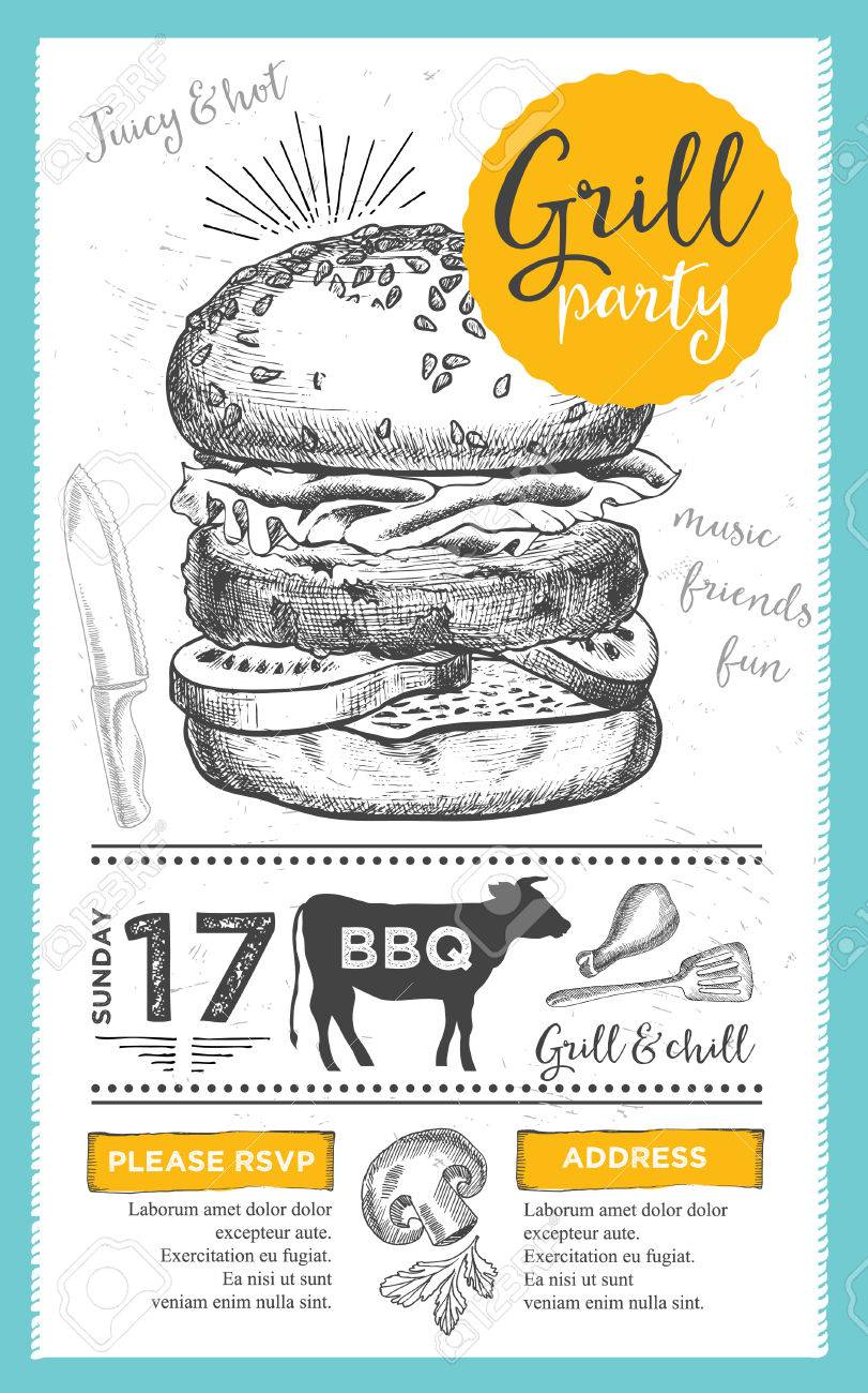 barbecue menu placemat food restaurant brochure bbq template