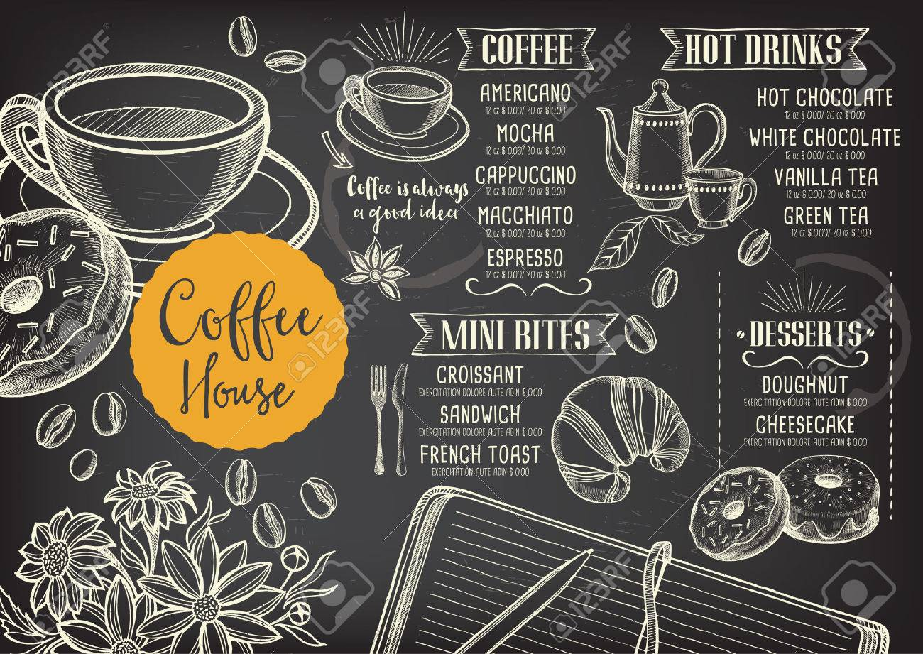 Coffee Restaurant Brochure Vector, Coffee Shop Menu Design. Vector ...
