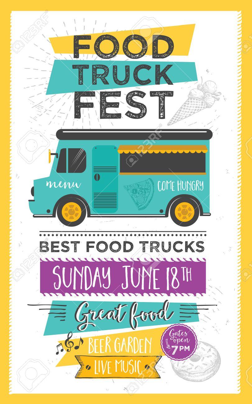 Food truck festival menu food brochure, street food template design. Vintage creative party invitation with hand-drawn graphic. Vector food menu flyer. Hipster menu board. - 56679816