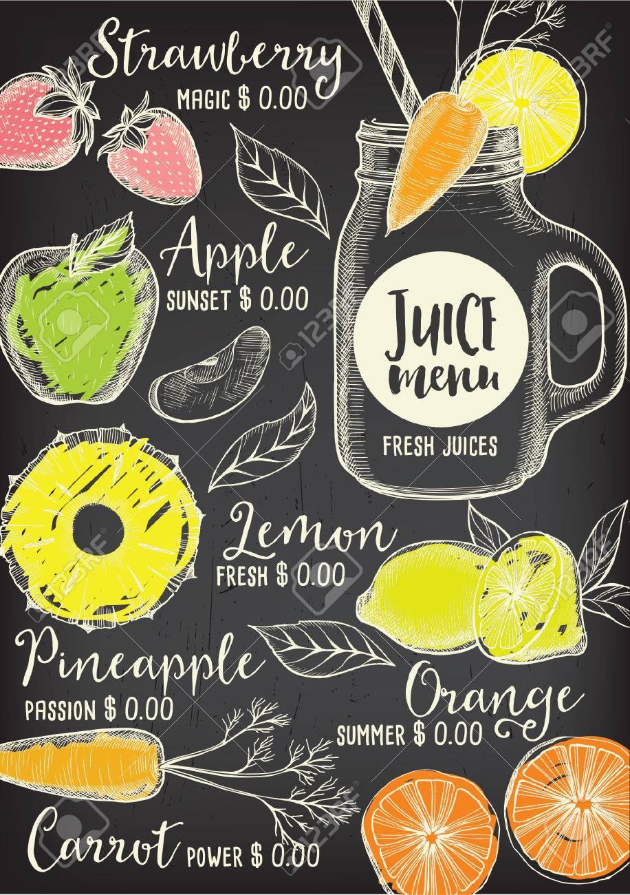 Juice menu placemat drink restaurant brochure, dessert template design. Vintage creative beverage template with hand-drawn graphic. Vector food menu flyer. Gourmet menu board. - 58782214