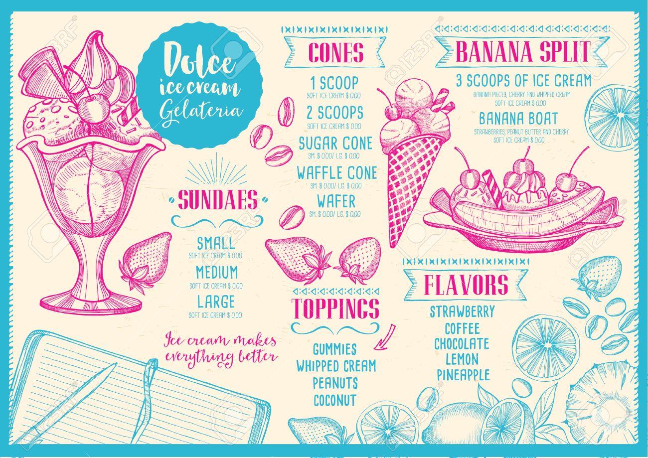 ice cream menu placemat food restaurant brochure dessert template