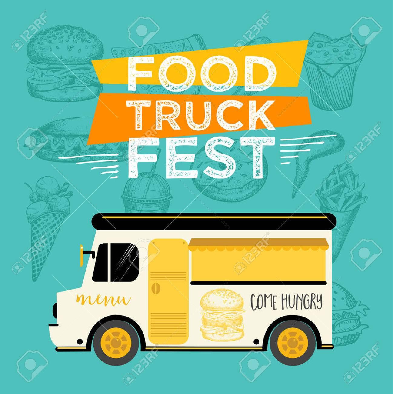 Food truck festival menu food brochure, street food template design. Vintage creative party invitation with hand-drawn graphic. Vector food menu flyer. Hipster menu board. - 58782627