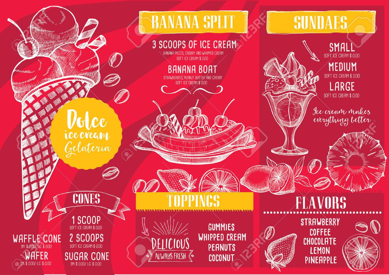 Eiskarte Platzdeckchen-Food-Restaurant Broschüre, Dessert Template ...