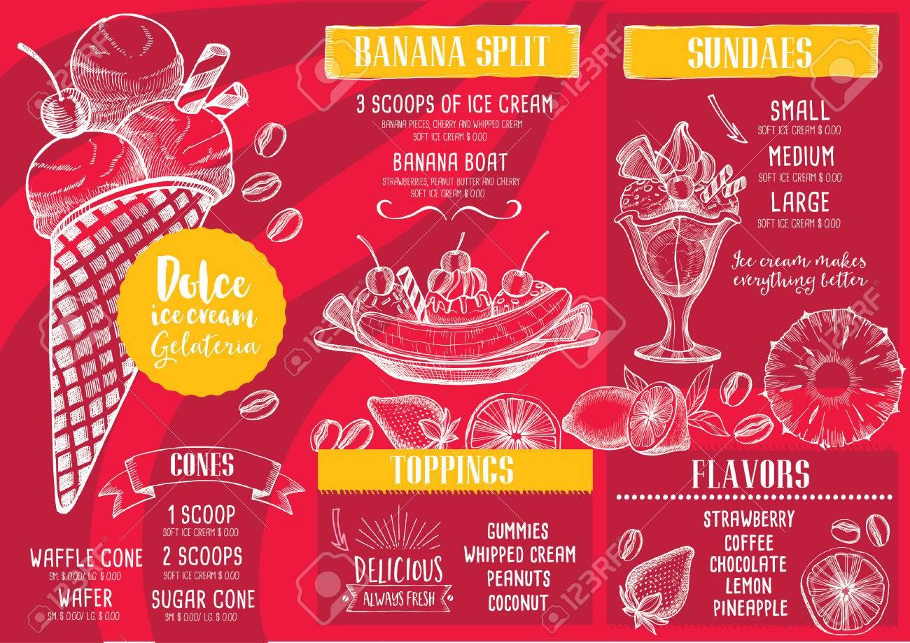 Helado Menú Mantel Folleto Restaurante De Comida, Diseño De ...