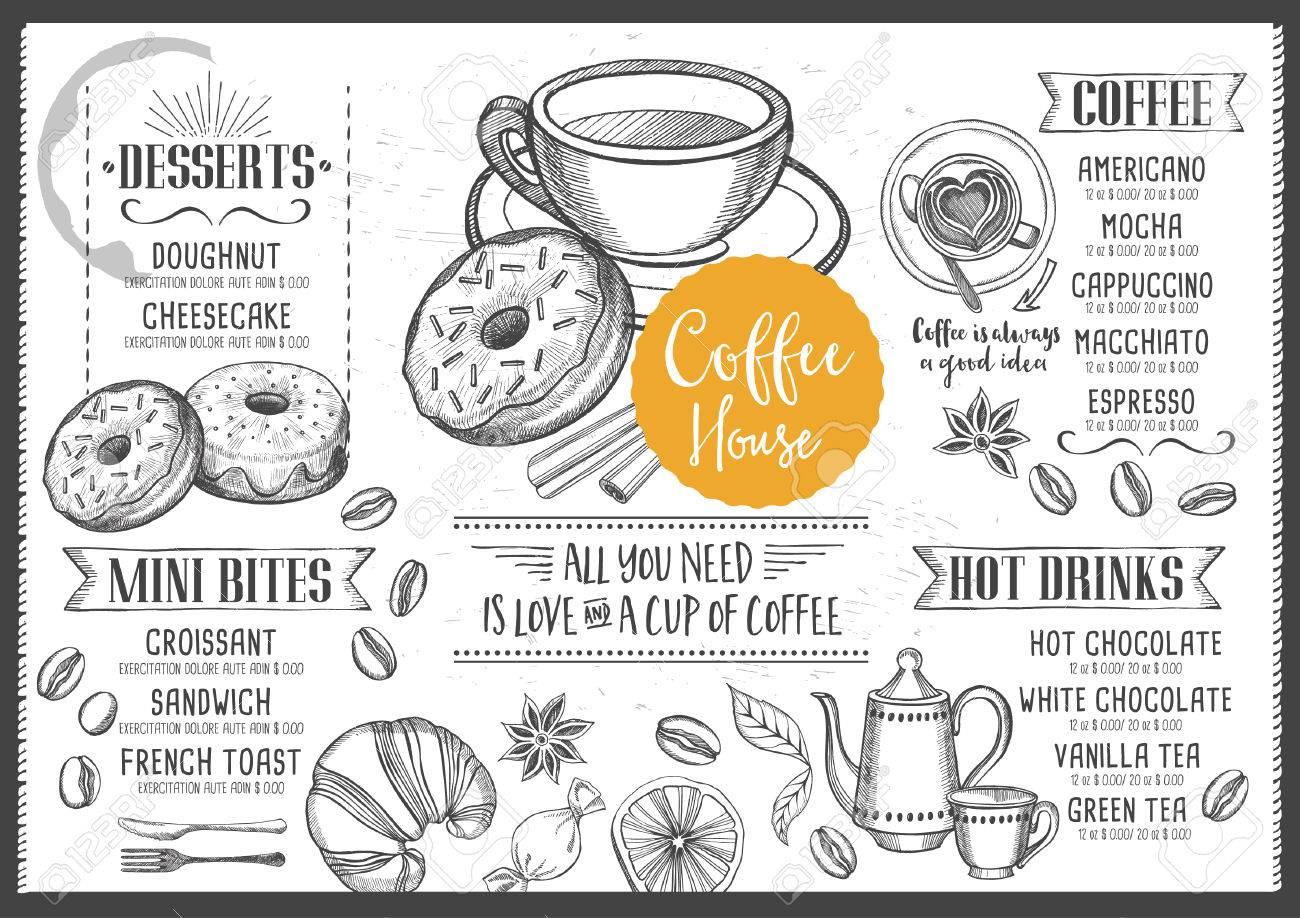 Kaffee-Menü Platzdeckchen-Food-Restaurant Broschüre, Coffee-Shop ...
