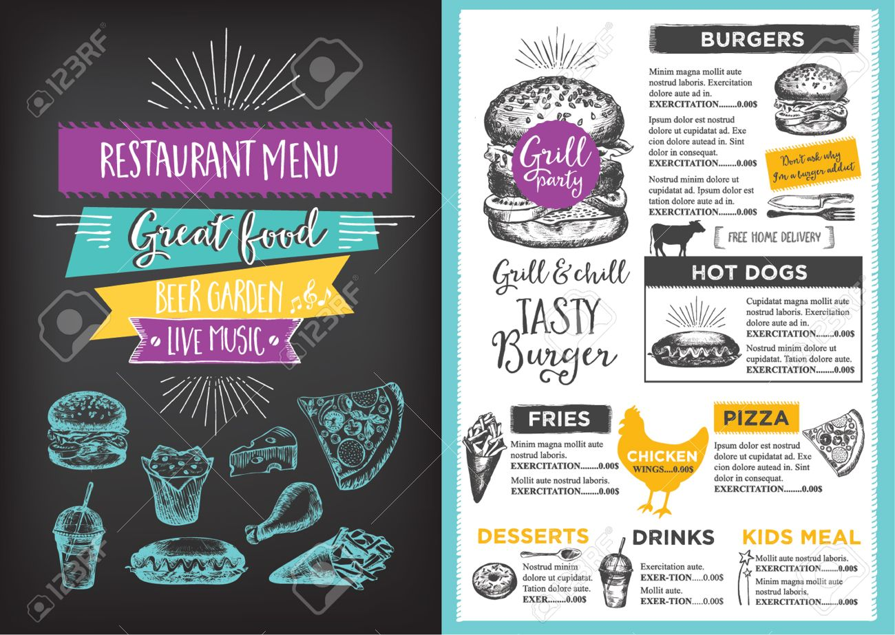 Menu Placemat Food Restaurant Brochure, Menu Template Design. Vintage  Creative Dinner Template With Hand